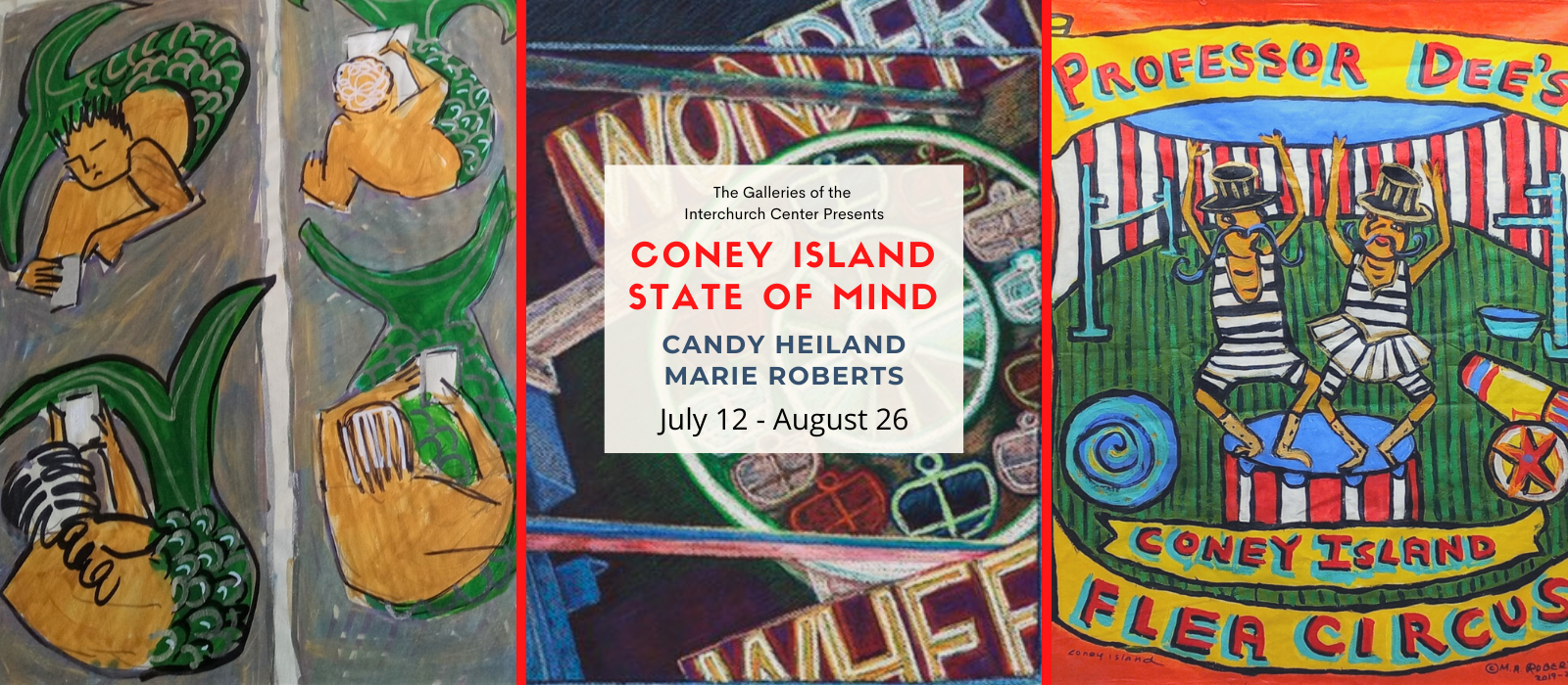 CISOM Summer Art Exhibition featuring art by Candy Heiland and Marie Roberts.